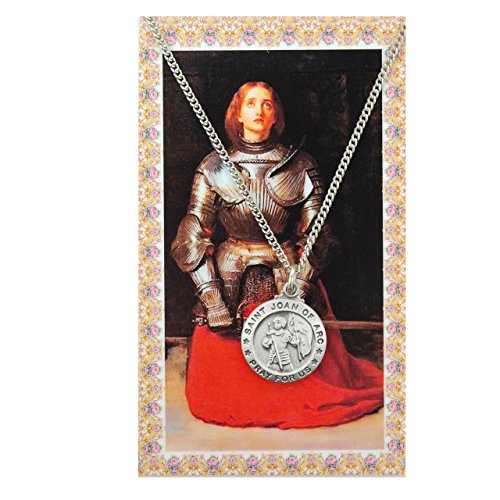 Saint Joan of Arc Pewter Medal Pendant with Prayer - Necklace Medal Holy