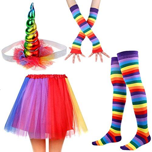 Women's Rainbow Long Gloves Socks and 3 Layered