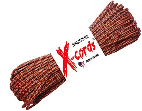 X-cords Paracord 850 Lb Stronger Than 550 and 750 Made By Us Government Certified Contractor (Neon Orange Diamond 100') (Braid How Cord To)
