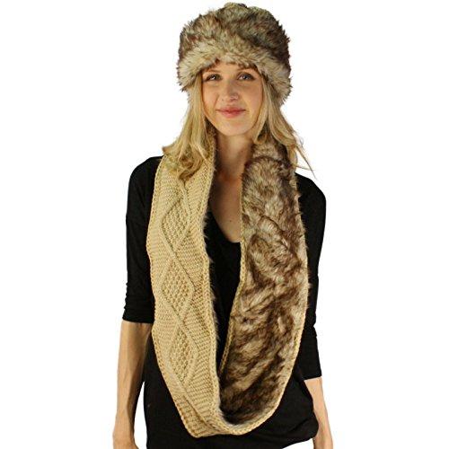Faux Fur Cloche - Winter 2pc Chunky Knit Beanie Cloche Bucket Faux Fur Hat Infinity Scarf Set Beige