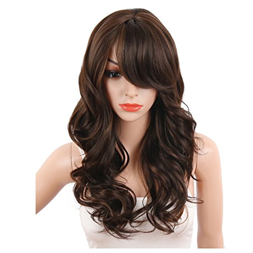 KRSI New Long Wavy Curly Synthetic Wigs for Black Women Natural Brown Full Synthetic Hair Wigs For Women Side Parting With Bangs Heat Friendly Replacement Wigs 24 Inches (Ombre (Wholesale Synthetic Wigs)