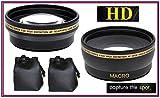 2-Pc Lens Kit Hi-Def Telephoto & Wide Angle Lens Set for Nikon D3400 D5600 (55mm Compatible)