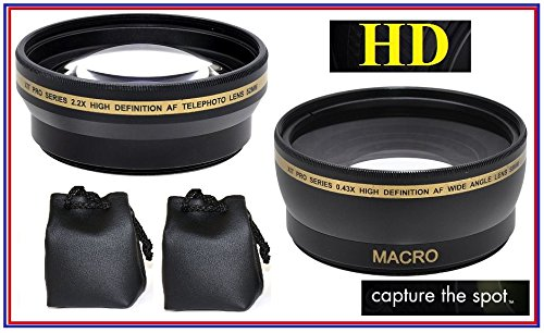 Hi Def 2-Pc Lens Set Pro HD Wide Angle /& Telephoto Lens Kit For Sony HXR-NX30