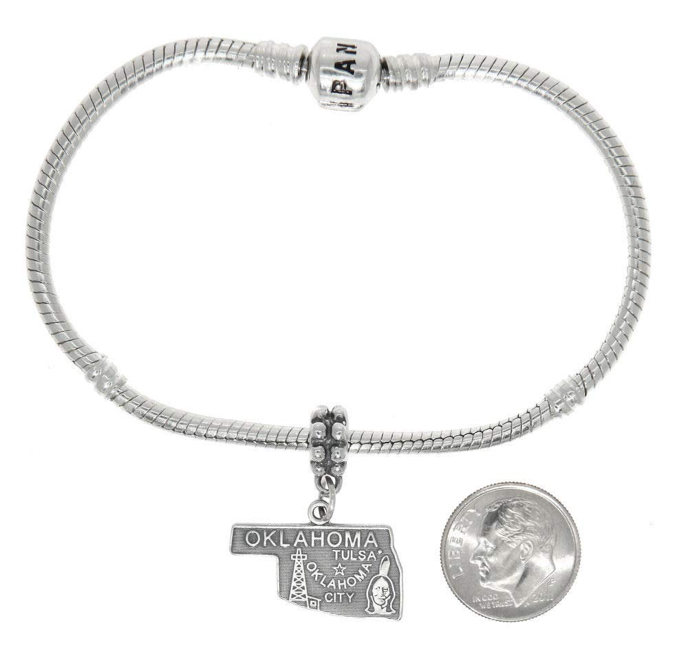 Sterling Silver Travel State MAP of Oklahoma Dangle European Bead Charm Jewelry Making Supply Pendant Bracelet DIY Crafting by Wholesale Charms by Wholesale Charms (Image #2)