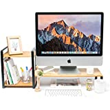 JackCubeDesign Bamboo Monitor Stand Computer Riser with 2-Tier Desktop Bookshelf Countertop Bookcase,Book Storage Organizer Display Shelf Rack for Home Office– :MK363A
