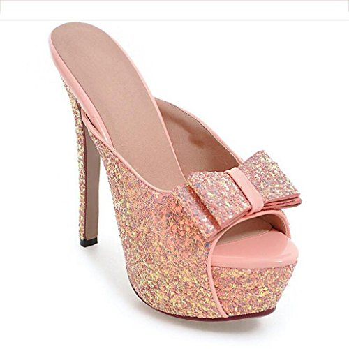 W&LM Sra Tacones altos Chanclas Boca de pescado Sandalias De acuerdo Parte inferior gruesa Sandalias Antideslizante Zapato Pink