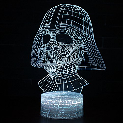 LED 3D Optical Illusion Smart 7 Colors Night Light Desk Lamp with USB Cable (Darth (Darth Vader Lights)