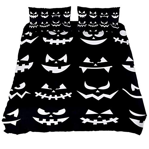 LORVIES Scary Halloween Pumpkin Faces On Black Background Duvet Cover Set, 3 PieceQuilt Bedding Cover with Zipper, Ties, Decorative Bedding Sets with Pillow Shams for Men Women Boys Girls Kids Teens ()