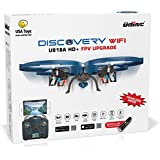 UDI U818A WiFi FPV RC Quadcopter Drone with HD Camera - VR Headset Compatible - Headless Mode, Low Voltage Alarm, Gravity Induction - Includes BONUS BATTERY + Power Bank