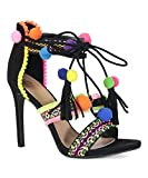 Truelove 43S Womens Embroidered Tie up Fringe Block Heel Pom Pom Sandals Black 7