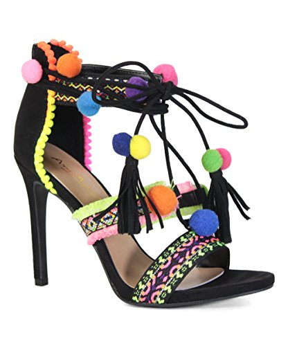 Bamboo Stiletto (Truelove 43S Womens Embroidered Tie Up Fringe Block Heel Pom Pom Sandals Black 7.5)