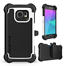 Ballistic Samsung Galaxy S6 Tough Jacket Maxx Case with Holster - Retail Packaging - Black/White