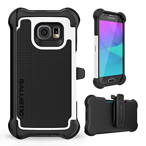 Galaxy S6 Case, Ballistic [Tough Jacket Maxx] Six-Sided Drop Protection [White] 7ft Drop Test Certified Case Screen Protector and Holster Included for Samsung Galaxy S6 - (TX1603-A08N)