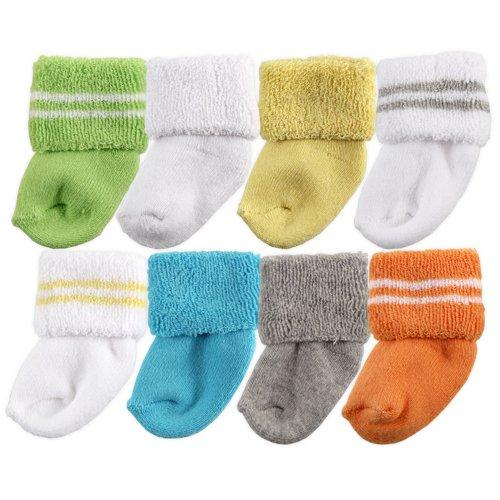 Cotton Unisex Socks - Luvable Friends Unisex Baby Socks, Yellow 8-Pack, 6-12 Months