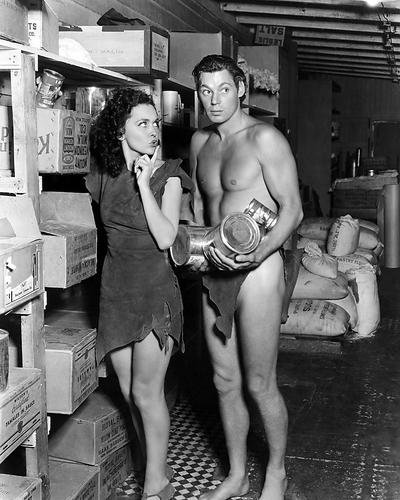 Tarzan's Cryptic Treasure Featuring Johnny Weissmuller, Maureen O'sullivan 8x10 Promotional Photograph on set