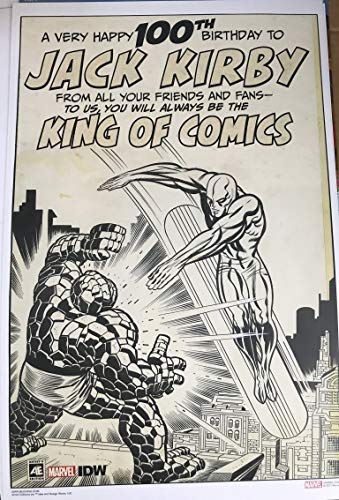 """SDCC 2019 Exclusive 100th Birthday Poster JACK KIRBY KING OF COMICS IDW Poster 11"""" x 17"""""""