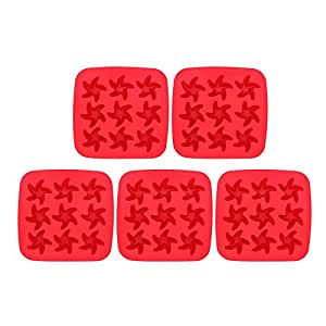 Riverbyland Starfish Shape Plastic Ice Cube Trays Assorted Colors Set of 5