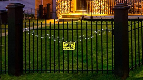 Halloween LED Flashing Lights Electric Fence Sounds & Warning Sign Outdoor Indoor Party Decor 8 ft
