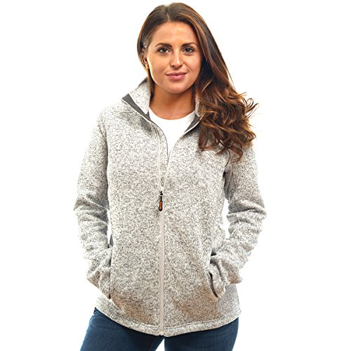 Womens Unique Speckled Zip Up Knit Sweater Fleece Jacket-All Season Heather Cardigan ()