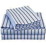 Cotton Blend 600 Thread Count, Deep pocket, Wrinkle Resistant 4-Piece Twin XL  Bed Sheet Set with BONUS Pillowcases, Bahama Striped, Blue with Black Stripes