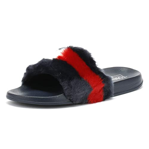 Tommy Hilfiger Femmes Midnight Marine Funny Fur Pool Slides