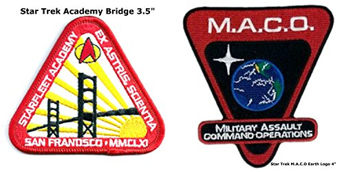 Star Trek Collector's 2-Pack San Francisco Academy and Military Assault Command Operations Badge Gift Sets Embroidered Sew/Iron-on Patch/Applique J&C Family Owned -