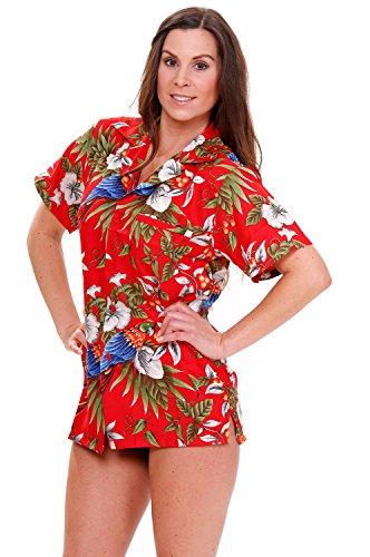 Rouge courtes Funky Rouge manches King hawa Chemise front pocket pour Rouge Parrot kameha Cerise femme enne 6OwqxnCpq