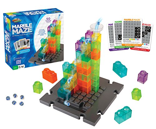 Marble Genius Marble Maze – 50 Building Pieces + 60 Challenge Cards + Free App