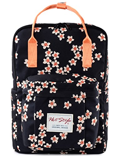 HotStyle Personalized Flora Waterproof Backpack for College Girls - Fits 14 inch Laptop - Black