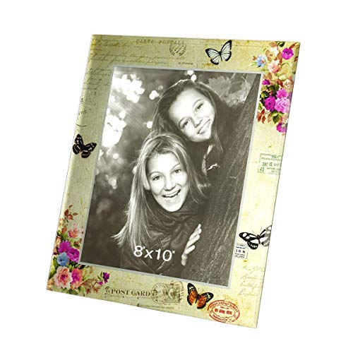CN CRAFTS 8 X 10 Keepsake Picture Frames with Hand-Polished Glass Beveled Edge and Flower, Post Stamp, Butterfly Landscape Painting in Gold Glass,11 X 13 Inches