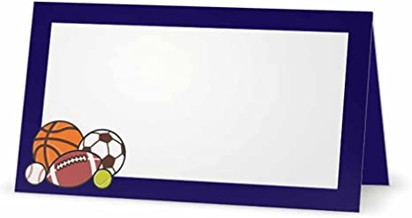 Navy and Teal Baseball Ticket Place Cards  Game Photos Reception Blank Seating Cards  Unique Sports Theme Escort Name Tag Template