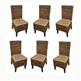 Cheap D-ART COLLECTION 6-Piece Mahogany Seagrass Dining Chair Set