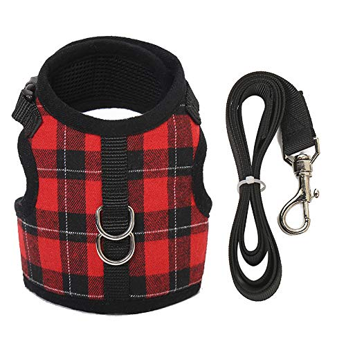 M-YOUNG Escape Proof Cat Harness with Leash – Adjustable Plaid Soft Mesh – Best for Walking Cool,Rabbits Puppy Kittens…