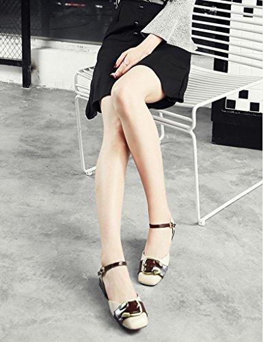 Simple Carré Style Bouche Beige Métal Femelle Femmes Taille Peu Foncé Britannique Femme Vert Boucle 37 Hwf Retro En Printemps Tête Chaussures Casual Profonde Couleur fwgY8ntPq