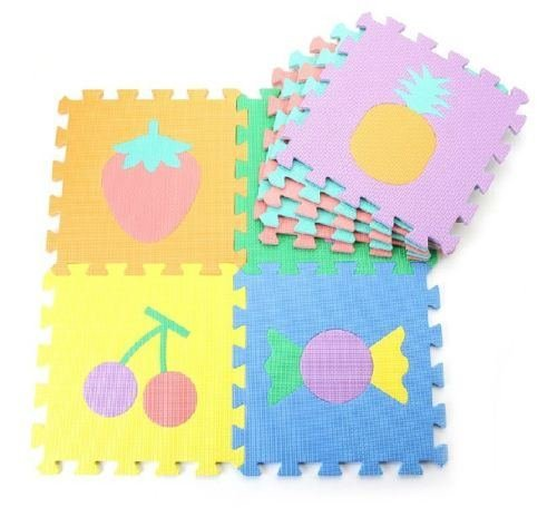 """New 9 Pcs 12""""*12"""" Foam Mat Puzzle Floor GYM Soft Baby Kids Play Room Fruits"""
