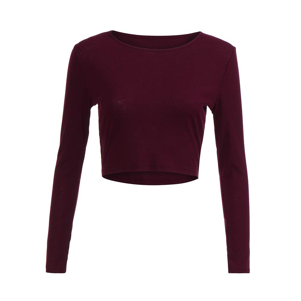 clearance sale!!ZEFOTIM Fashion Women Long Sleeve O-neck Tight Elastic T-shirt Blouses Crop Tops ZEFOTIMUnderwear NO.1