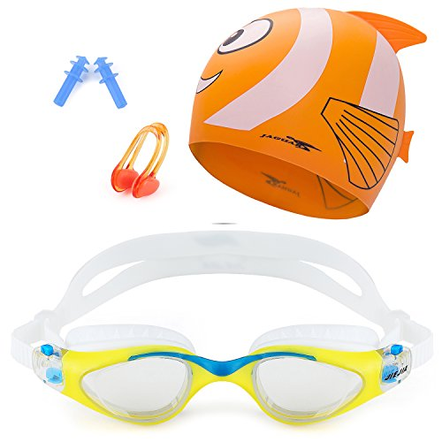 Mee'sport Kids Swim Goggle Set With Anti Fog UV Protection Swimming Goggles Swim Cap and Ear Plugs Nose Clip Swimming Equipment Toys Games Triathlon Equipment for Youth Kids Boys Girls - Goggles Swin