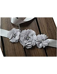 Bridesmaid and Flowergirls sashes wedding sash pearls flowers belts