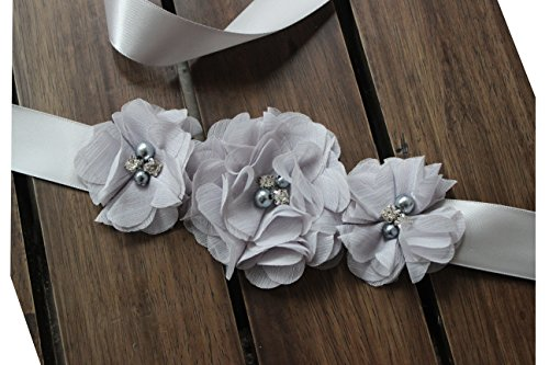 Bridesmaid and Flowergirls sashes wedding sash pearls flowers belts (Silver) by nania