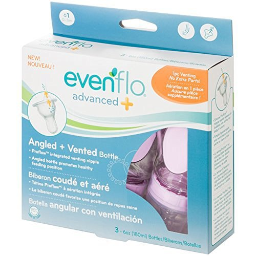 Evenflo Advanced Plus Angled and Vented Bottles, 6 Oz, 2 Cou