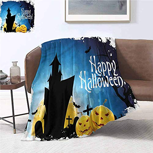 DILITECK Sofa Blanket Halloween Gothic Ancient Castle Warm All Season Blanket for W70 xL84 Traveling,Hiking,Camping,Full Queen,TV,Cabin -