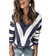 Elapsy Womens V Neck Long Sleeve Ripped Distressed Pullover Knitted Sweater S-2XL