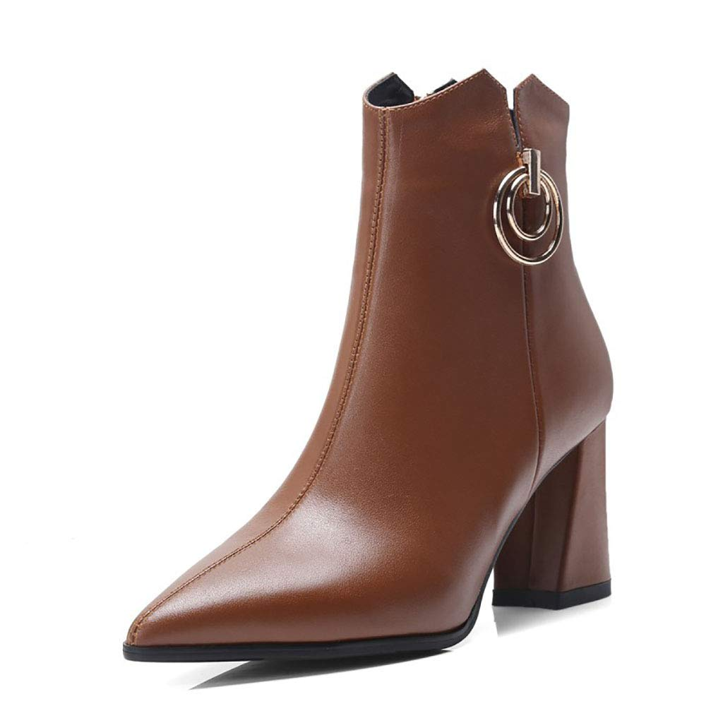 Brown Women's Booties Leather Fleece Lined Pointed Thick high Heel Martin Boots Side Zipper Metal Decorative Ankle Boots Winter