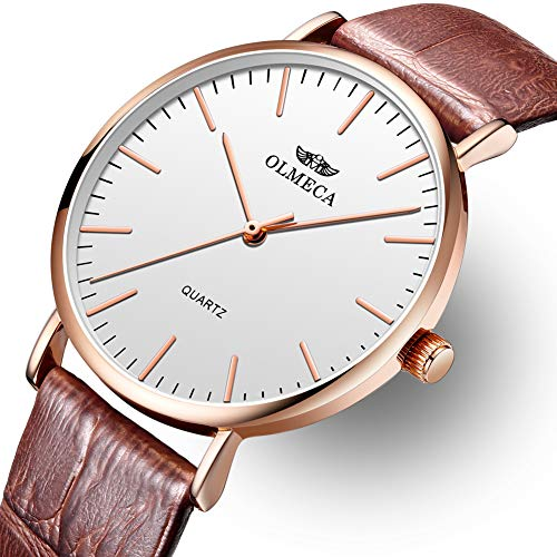 Men's Watches Luxury Wristwatches 41mm Simple Dial-Japanese Quartz Movement-Replaceable Multi-Color Band (Brown) (Dial Movement Quartz Japanese)