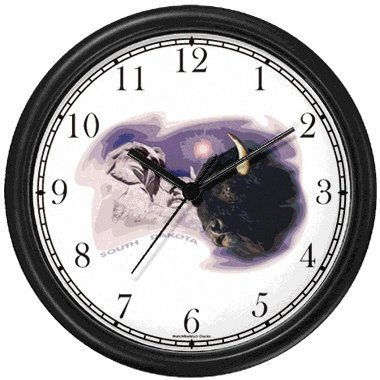 - South Dakota Icons - Buffalo or Bison, Mount Rushmore - American - Famous Landmarks - Theme Wall Clock by WatchBuddy Timepieces (White Frame)