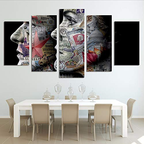 Yyjyxd Modern Canvas Art Painting Frame Hd Print Wall Art 5 Panel Picture Abstract Words Infomation Girls Face Poster Home Decor,12X16/24/32Inch,with -