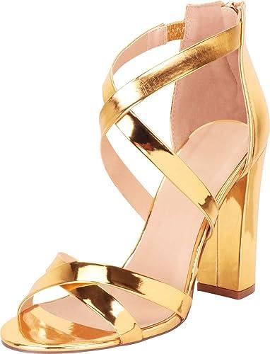 6626465f Amazon.com | Cambridge Select Women's Crisscross Strappy Chunky Block High  Heel Sandal | Heeled Sandals