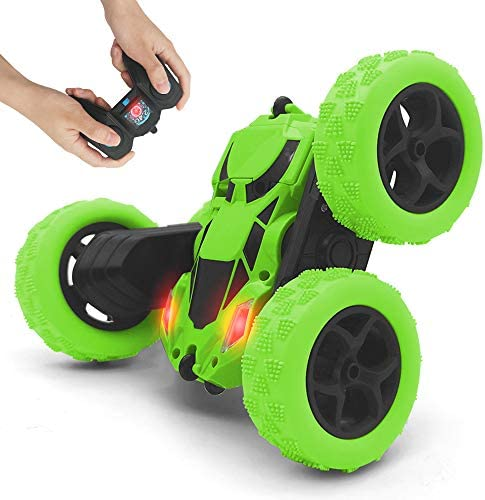 Remote Control automotive, 2.4GHz Race Stunt Car, Double Sided 360° Rolling Rotating Rotation, LED Headlights RC four wheel drive Off Road Monster Truck Flipping Kids Toy Cars for Boys & Girls Christmas Birthday (Green)