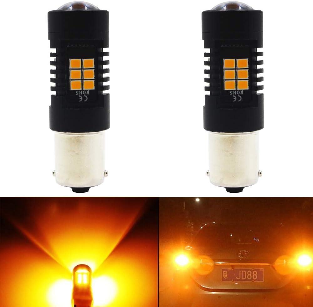 2 unidades 1156 BA15S 7506 1141 1003 1073 extremadamente brillante ámbar/amarillo non-polarity LED luz 9 – 30 V-DC, 2835, 21 SMD, repuesto para Turn Signal Blinker Light cola Stoplight bombillas