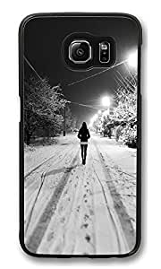 VUTTOO Rugged Samsung Galaxy S6 Case, Winter Snow Walk Alone PC Hard Case for Samsung Galaxy S6 Black
